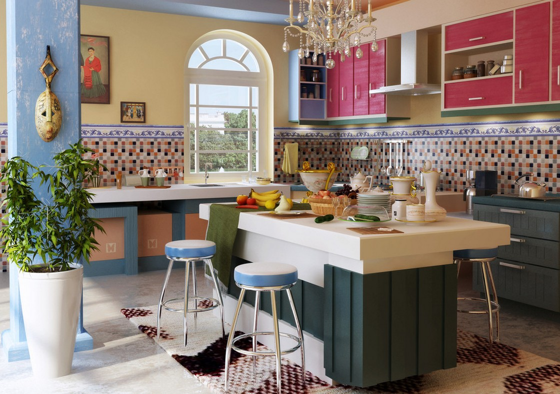 Mediterranean Kitchen Design Combination Of Three Colors