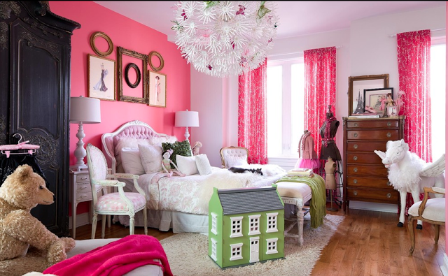 Pink girls bedroom accent wall