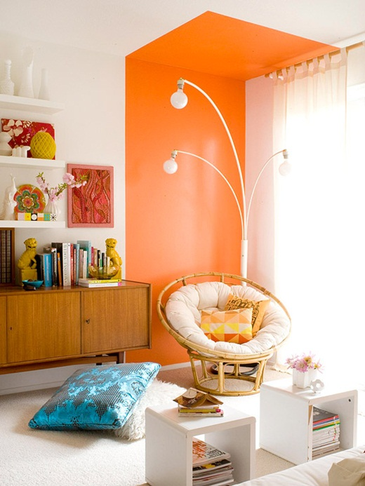 orange accent wall - painting company in MA