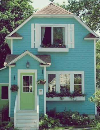 colorful turquoise house exterior paint bright colorful home