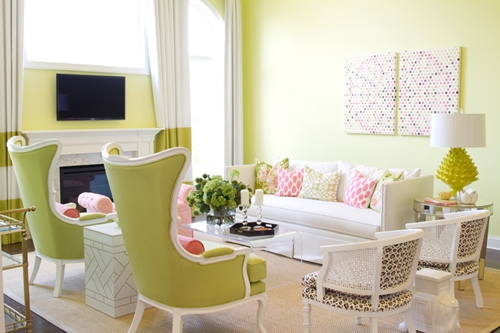 lime green living room - interior paint