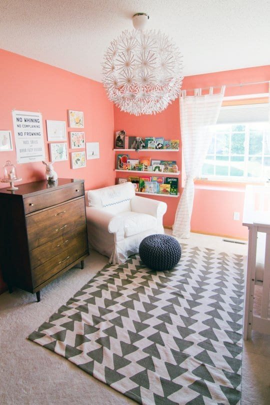 Gentil Coral Can Be Used As An Interior Wall Color In Everything From Bathrooms To  Kitchens To Nurseries. Paired With A White Rug And Armchair In This Case,  ...