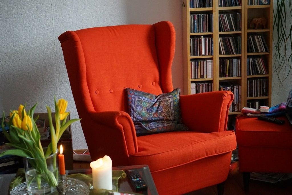 red chair in cozy room