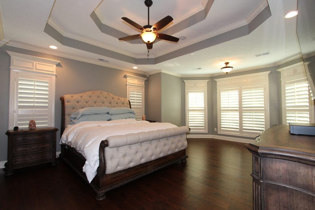 bedroom with tray ceiling