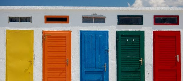 multicolored doors