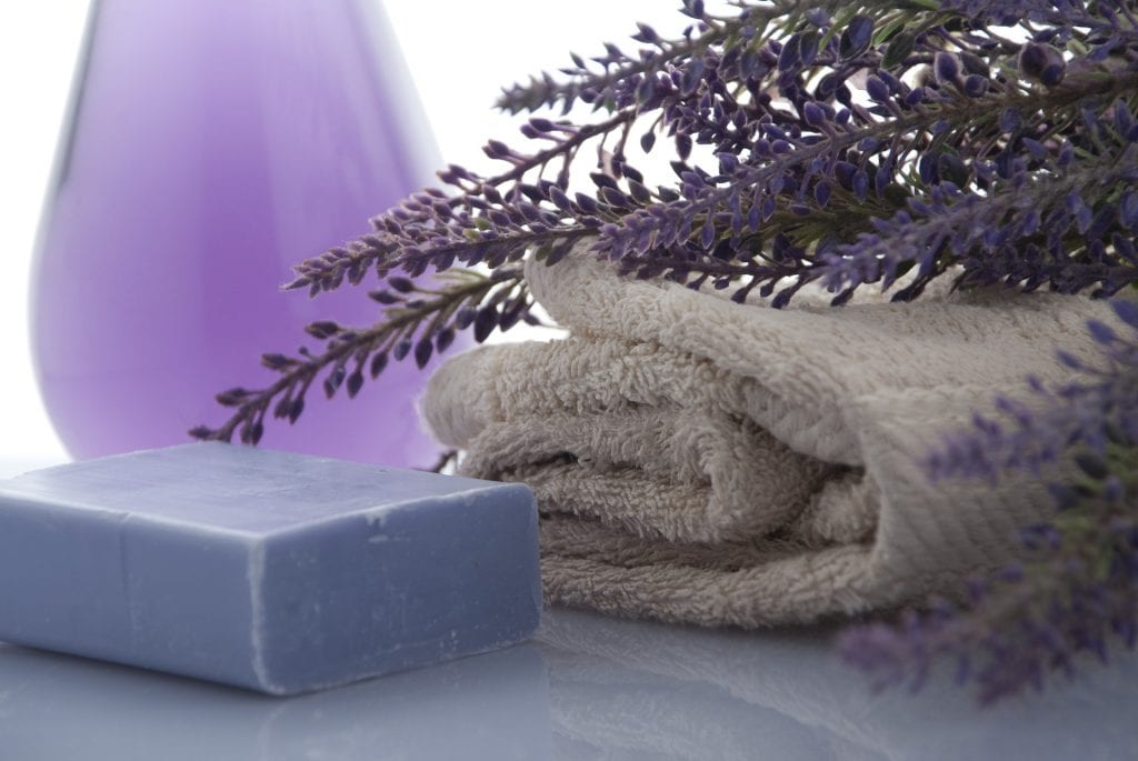 lavender soap and towel