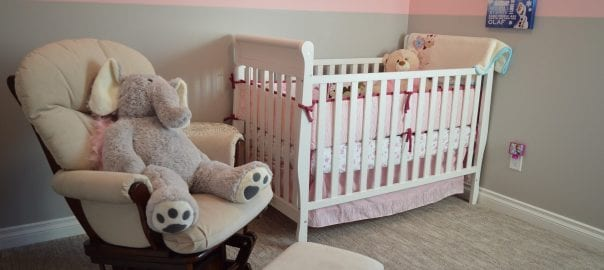 nursery in pink and gray